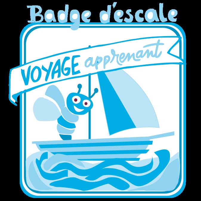 Badge d'escale du voyage apprenant