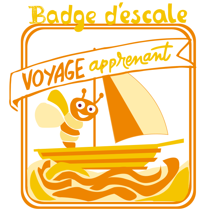 Badge d'escale du voyage apprenant